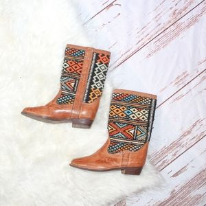 VTG 1970s Amazing Leather Woven Boots